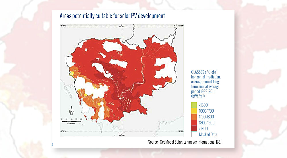 Cambodia Map of areas suitable for solar development